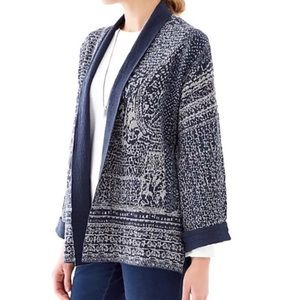Pure Jill Printed Blue Open Cardigan Size Large